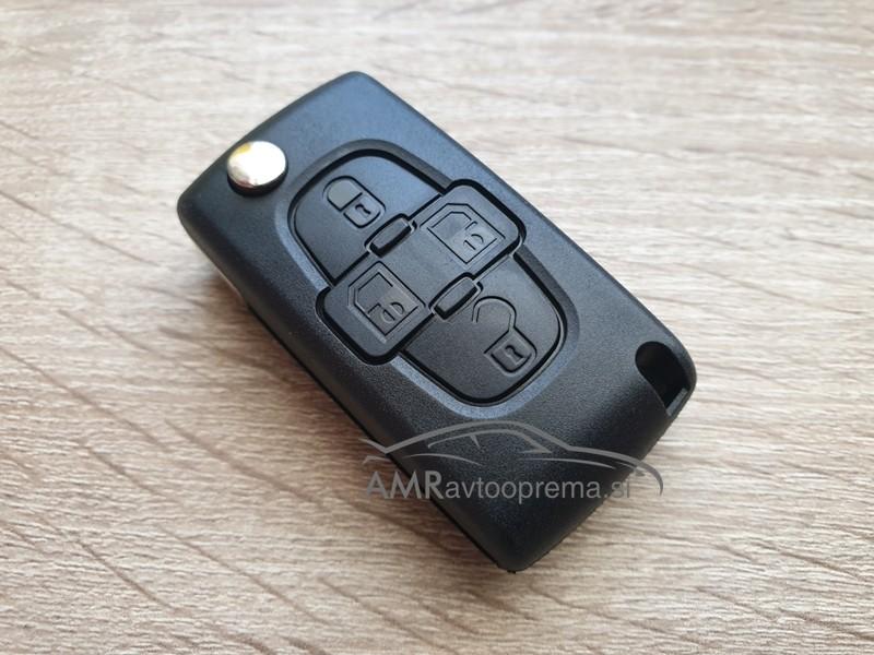 Ohišje za zložljive ključe Peugeot s štirimi gumbi
