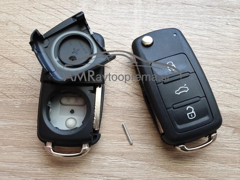 Ohišje za ključe Volkswagen s tremi gumbi od letnika 2010 naprej